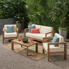 Genser Outdoor 4 Seater Acacia Wood Chat Set by Christopher Knight Home (Brown Wash+ Beige), Outdoor Seating Pool Patio Furniture, Patio Furniture Makeover, Patio Furniture Cushions, Best Outdoor Furniture, Modern Furniture, Antique Furniture, Ikea Patio, Rustic Furniture, Garden Furniture