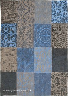 Vintage Forget Me Not Rug, a patchwork style 100% cotton chenille modern rug in shades of beige, blue & black (machine-woven, 100% cotton, 8 sizes) http://www.therugswarehouse.co.uk/vintage-forget-me-not-rug.html … #interiors
