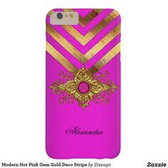 Modern Hot Pink Gem Gold Deco Stripe Barely There iPhone 6 Plus Case Iphone 6 Plus Case, Iphone Case Covers, Phone Cases, Create Your Own, Hot Pink, Gems, Elegant, Modern, Design