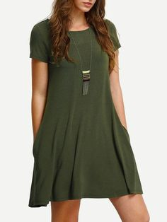 SheIn offers Army Green Short Sleeve Casual Shift Dress & more to fit your fashionable needs. Cute Dresses, Casual Dresses, Short Sleeve Dresses, Maxi Dresses, Casual Wear, Green Summer Dresses, Green Dress, Dress Summer, Designer Clothing