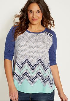 plus size button back tee with chevron print chiffon front (original price, $36) available at #Maurices