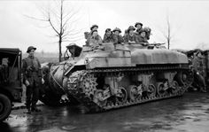 Infantry of 53rd (Welsh) Division in a Kangaroo personnel carrier on the outskirts of Ochtrup, 3 April 1945.