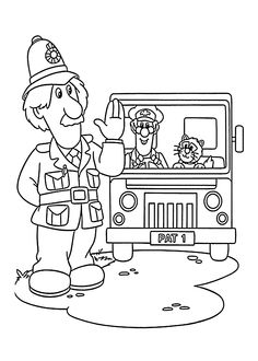 Postman Pat in truck coloring pages for kids, printable free