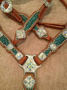 Closeup of the turquoise croc set by crown leather :)