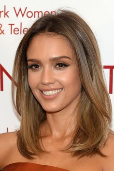 Jessica Alba keeps it simple and straight. This style works best for those with fine and thin hair. via StyleList | http://aol.it/1qKR0uh
