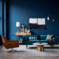 Dive into deep blue drama with @WestElm's 2015 Fall/Winter Color Collection. # #blue #interior