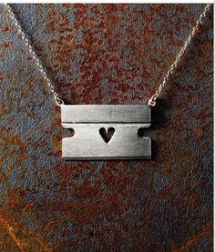 """Razor Blade Necklace with Heart and 18"""" Chain. Can't be the only one that sees more than just a necklace?"""