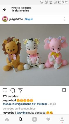 Trendy Ideas For Cupcakes Baby Shower Bebe Fondant Toppers<br> Bear Cupcakes, Fun Cupcakes, Fondant Cupcakes, Fondant Toppers, Safari Cakes, Fondant Animals, Edible Glitter, Fondant Decorations, Cute Clay