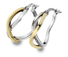 9ct 2 Colour Gold Crosover Creole Earrings (003093)