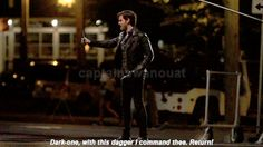 Killian trying to summon Emma with the dagger (7/17 filming in Steveston)