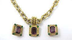 Purple Amethyst Glass Necklace Set Joseph Esposito STOCKO