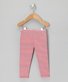 Take a look at this Red & White Stripe Leggings - Infant by Truffles Ruffles on #zulily today!