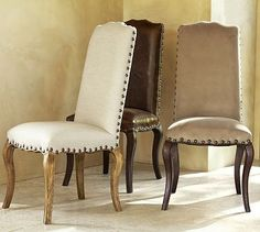 Calais Chair #potterybarn so perfect.  Love the taupe chairs.  Exactly what I want.  Need to find a way to recreate.