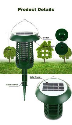 Igreen 2 In 1 Garden Mosquito Killer Lamp Solar Panel Power