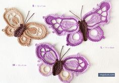 3 Crochet Butterflies: Diagram + step by step instructions
