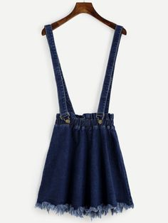 Shop Blue Raw Hem Denim Strap Skirt at ROMWE, discover more fashion styles online. A Line Denim Skirt, White Denim Skirt, A Line Skirts, Short Skirts, Denim Skirts, Navy Skirt, Romwe, Summer Skirts, Shows