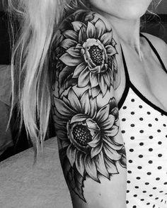 Realistic Sunflower Shoulder Arm Sleeve Tattoo Ideas for Women at MyBodiArt.com