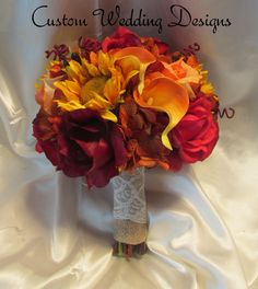 Beautiful Fall Real Touch Wedding Bouquet of Calla Lilies, Sunflowers, Hydrangea and roses. by Customweddingdesigns on Etsy