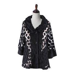 "Damee NYC Jacket, ""Simply Dotty"" Semi Sheer Waist in Black Jacket Dress, Nyc, Blouse, Long Sleeve, Sleeves, Jackets, Black, Tops, Dresses"