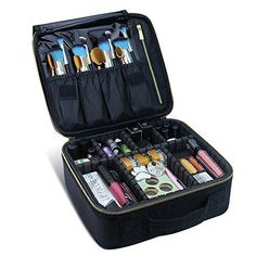 Travel Makeup Case,Chomeiu- Professional Cosmetic Makeup Bag Organizer Makeup Boxes With Compartments Neceser De Maquillaje(Black-M) & Bathing Accessories & Accessories Makeup Brush Bag, Makeup Box, Makeup Case, Makeup Brushes, Eye Makeup, Makeup Geek, Makeup Tools, Mini Makeup, Makeup Pouch