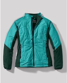 I use this jacket for spring/summer skiing. Very light, warm, windproof & water resistant. First Ascent // Eddie Bauer