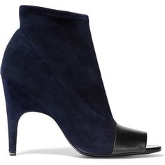 Acne Studios Vova leather-trimmed suede ankle boots (955 SAR) ❤ liked on Polyvore featuring shoes, boots, ankle booties, midnight blue, high heel boots, suede bootie, slip on boots, short boots and suede booties