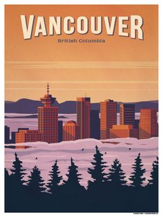 Vintage Travel Image of Vancouver Poster - Size - Digital Print on 80 lb cover matte white *SHIPPING DETAILS* Items will be mailed out in tubes within 3 days after order. Yellowstone National Park, National Parks, Poster On, Poster Prints, Art Print, Posters Canada, Tableau Pop Art, Voyage Canada, Vancouver British Columbia