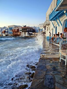 Restaurant near the water's edge in Mykonos, Greece