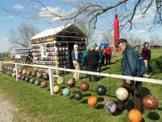 Stop by and see the #Bowling Ball Yard #Art in Nowata, #Oklahoma! The creator has made amazing sculptures, recreated logos and much more by recycling bowling balls. It's a fun roadside attraction everyone will love!