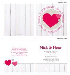 Trouwkaarten met Hout | Trouwkaartje - Trouwkaartje met hout. Ontwerp of bewerk dit kaartje zelf! Met onze ontwerp tool. www.trouwkaarten-drukkerij.nl