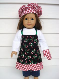 American Girl Apron, Christmas Chef's Set, Apron, Chef's Hat, Oven Mit. $17.00, via Etsy.  (This shop has lots of cute doll clothes)