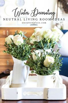 Neutral living room ideas that are perfect for the winter months. Easy and budget friendly. Includes inspiration to up your home's cozy factor! #livingroomideas #livingroom #roomideas #neutrallivingroomideas