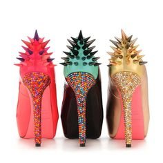 Full Encrusted Candy Colored Crystal and Spike Heels
