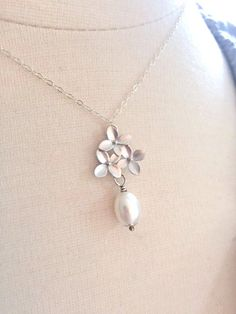 Silver Necklace Pearl Necklace Orchid Necklace by AvaHopeDesigns