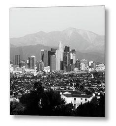 Los Angeles Skyline Print Mountain Landscape Square Wall Art Monochrome Wall Decor California Cityscape Print Hollywood Print - City of Los Angeles Acrylic Artwork, Metal Artwork, Los Angeles Skyline, Fine Art Prints, Wall Art Prints, Landscape Artwork, White Art, Black And White, San Gabriel Mountains