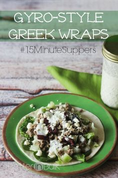 Gyro-style Greek wraps - all the delicious flavor of a Greek wrap in only 15 minutes (I love quick dinner ideas that are family friendly and yummy, too!)
