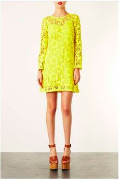 BRIGHT YELLOW LACE SHIFT DRESS