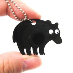 Black Bear Silhouette Shaped Pendant Necklace in Acrylic | Animal Jewelry