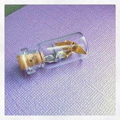 origami crane necklace glass bottle silver & gold, bottle necklace, wedding, birthday,  valentine's day, first paper anniversary