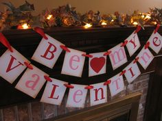 Valentine Banner  Be My Valentine Party Decoration Red and Pink Sign