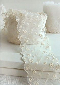 embroidered mesh lace width by cottonholic Lace Ribbon, Lace Fabric, Antique Lace, Vintage Lace, Wedding Flower Packages, Boutique Decor, Linens And Lace, Lace Doilies, Lace Making