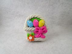 Easter Basket HAIR BOW CENTER - Pink Bow - Polymer Clay -Ready to Ship