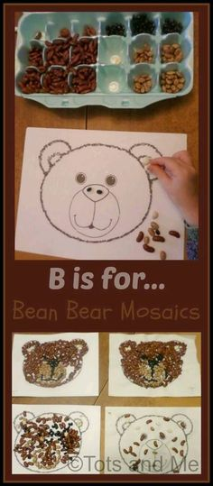 """Tots and Me. Growing Up Together: B is for .I'm thinking doing a BEAN """"b"""" for letter reversals would be great. Teddy Bear Crafts, Teddy Bear Day, Bear Crafts Preschool, Zoo Phonics, Art For Kids, Crafts For Kids, Goldilocks And The Three Bears, Letter A Crafts, Bear Art"""