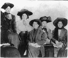 New York City Shirtwaist workers on strike 1909. Lunch break