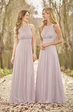 2017 Cheap A Line Silver Chiffon High Neck Floor Length Elegant Long Bridesmaid Dress