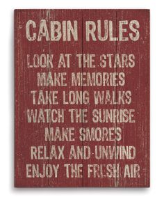 'Cabin Rules' Wall Art by Image Canvas Cabin Signs, Lake Signs, Lake Cabins, Cabins And Cottages, Cabin Homes, Log Homes, Wood Animals, Log Cabin Living, Little Cabin