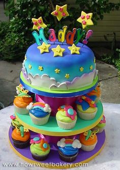 Lisa Frank Inspired Bday Cake