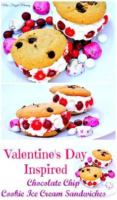 Valentine's Day Inspired Chocolate Chip Cookie Ice Cream Sandwiches