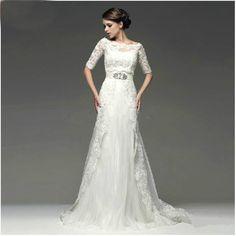 Two kinds of style Beaded Lace Tulle With 1/2 Sleeve Jacket Bolero Wedding Dress