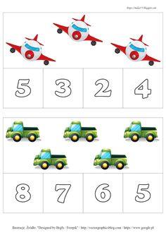 BLOG EDUKACYJNY DLA DZIECI: LICZBY DO 10 - POMOCE (PRZYPNIJ KLAMERKĘ) Math Numbers, Preschool Math, Math For Kids, Transportation, Education, Logos, Counting, Games, Google